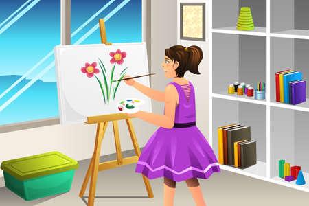 Een vectorillustratie van kinderen die op een canvas schilderen
