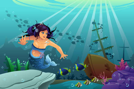 sunken: A vector illustration of underwater scene with mermaid and sink ship