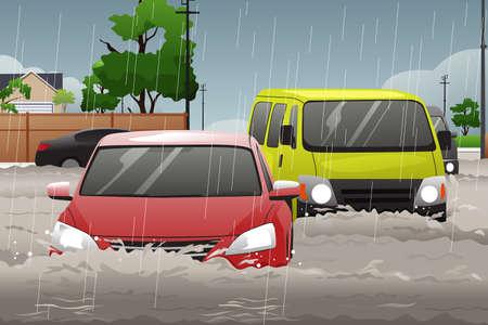 Une illustration de vecteur de voiture essayer de conduire contre les inondations dans la rue