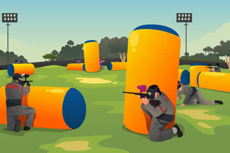 paintball: A vector illustration of people playing paintball