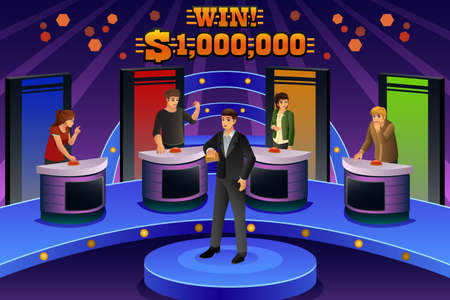 A vector illustration of people on game show