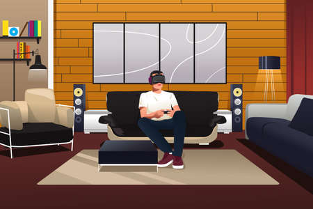A vector illustration of man playing with virtual reality headset in the living room Illustration