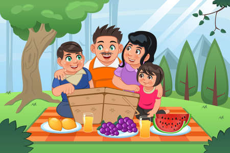 A vector illustration of happy family having a picnic together in the park