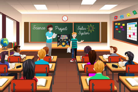 A vector illustration of student having science project presentation Ilustração
