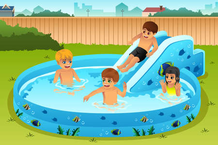 backyard: A vector illustration of children playing in inflatable pool in backyard