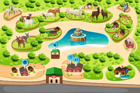 A vector illustration of petting zoo map Stock Illustratie
