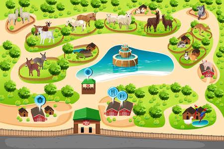 zoologico: Una ilustración vectorial de un mapa zoológico