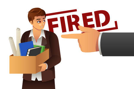 unemployed dismissed: A vector illustration of fired businessman carrying a box of personal items