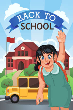 child of school age: A vector illustration of back to school poster with copyspace