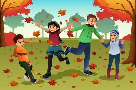 Een vector illustratie van gelukkige kinderen spelen buiten tijdens de herfst