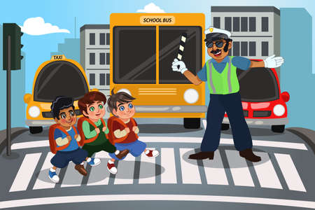 A vector illustration of children crossing street walking through pedestrian crossing
