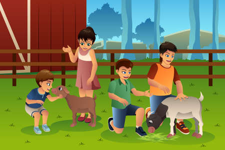 animals together: A vector illustration of happy kids petting animals together in a petting zoo