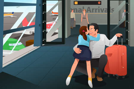 father daughter: A vector illustration of daughter reunion with her father at airport Illustration