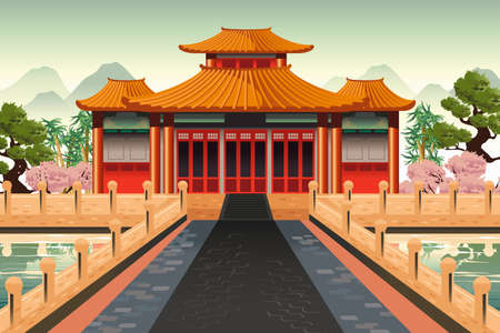 A vector illustration of Chinese temple background
