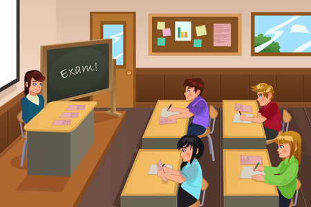 A vector illustration of students taking a exam in a class Vectores