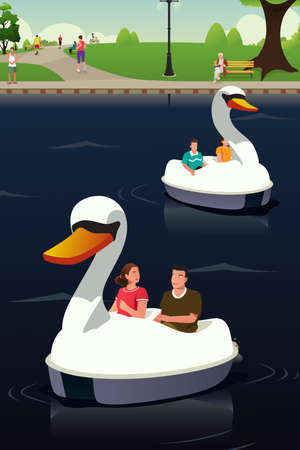 A vector illustration of couple riding duck boat at the public park