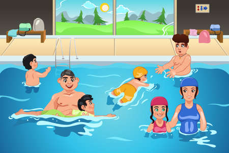 A vector illustration of kids having a swimming lesson in indoor pool