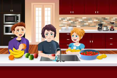 A vector illustration of kids washing fruits in the kitchen Ilustrace