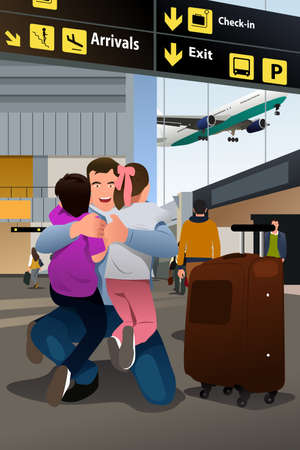 A vector illustration of kids reunion with their father at airport
