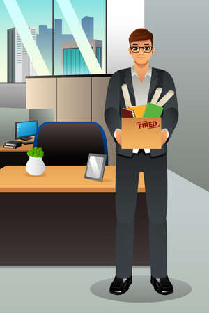 fired: A vector illustration of fired businessman carrying a box of personal items