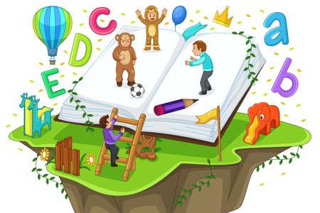estudiando: Una ilustración vectorial de niños jugando y la lectura con el libro abierto