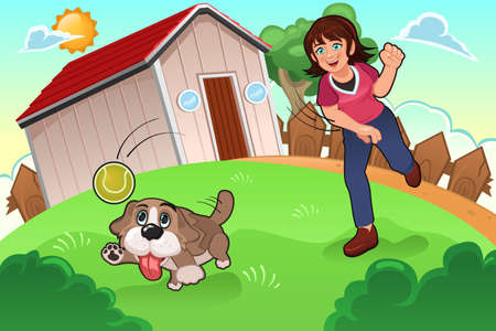 A vector illustration of little girl playing with her dog in the park Illustration