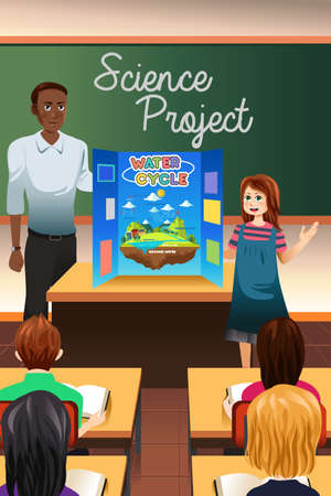 A vector illustration of student having science project presentation Illustration