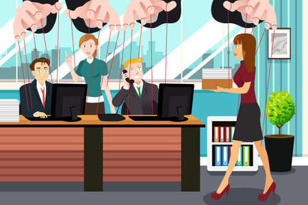 hanging string: A vector illustration of businesspeople hanging on string like marionette for controlling concept