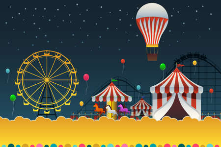 A vector illustration of carnival night poster with copyspace