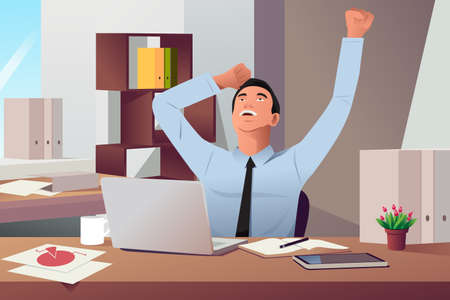 A vector illustration of happy businessman sitting his desk for work done concept