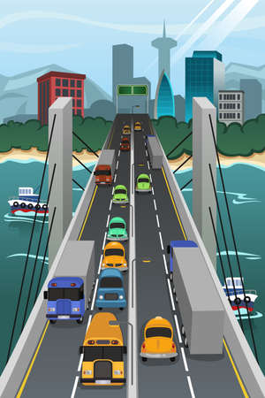 interchange: A vector illustration of aerial view of vehicle traffic crossing the bridge