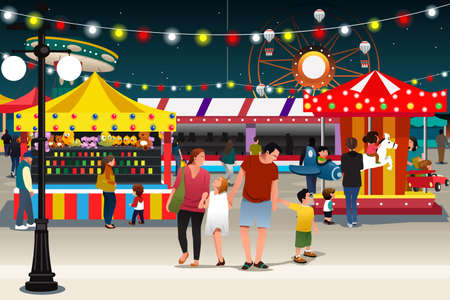 A vector illustration of happy family going to night market together Illustration