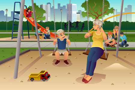 family playing: A vector illustration of mother playing on swing with her son at the playground Illustration