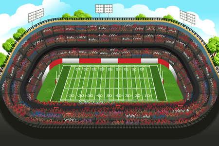 cancha de futbol: Una ilustración vectorial de fondo de un estadio de fútbol americano vacía