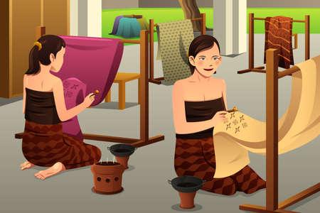 A vector illustration of woman using chanting and wax to make batik