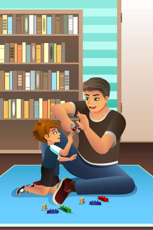 A vector illustration of happy son playing together with his father in bedroom Illustration
