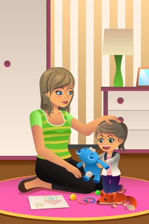 happy family: A vector illustration of happy daughter playing together with her mother in bedroom