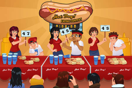 competitions: A vector illustration of people in hotdog eating contest