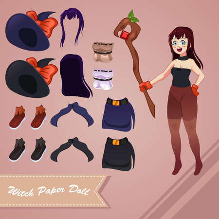 A vector illustration of witch paper doll Ilustrace