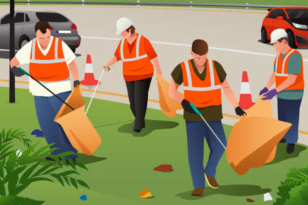 A vector illustration of community cleaning on the roadside Illustration