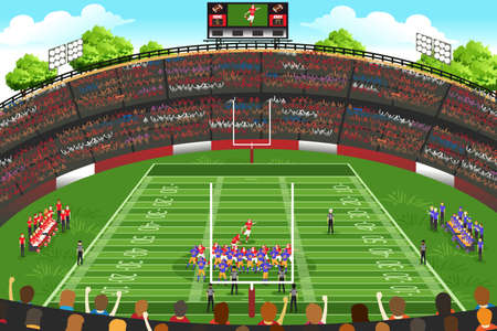 A vector illustration of American football stadium scene