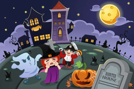 A vector illustration of kids wearing Halloween costumes in front of haunted house