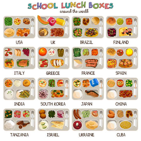 A vector illustration of school lunch boxes around the world Ilustração