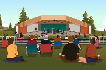 A vector illustration of group of people in an outdoor concert