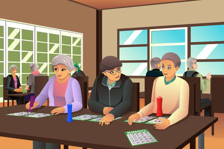 older woman smiling: A vector illustration of happy elderly playing bingo together Illustration