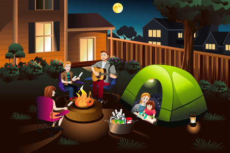 A vector illustration of happy family camping together in the backyard