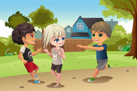 A vector illustration of happy kids playing together Illustration