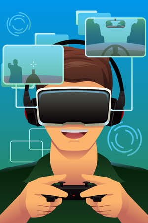A vector illustration of man playing with virtual reality headset