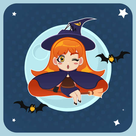 A vector illustration of witch flying in front of the full moon with magical broom Çizim