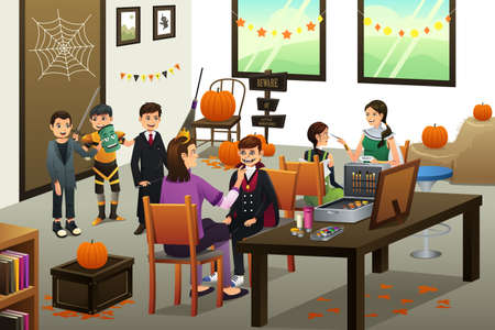 face painting: A vector illustration of happy kids lining up doing face painting during Halloween